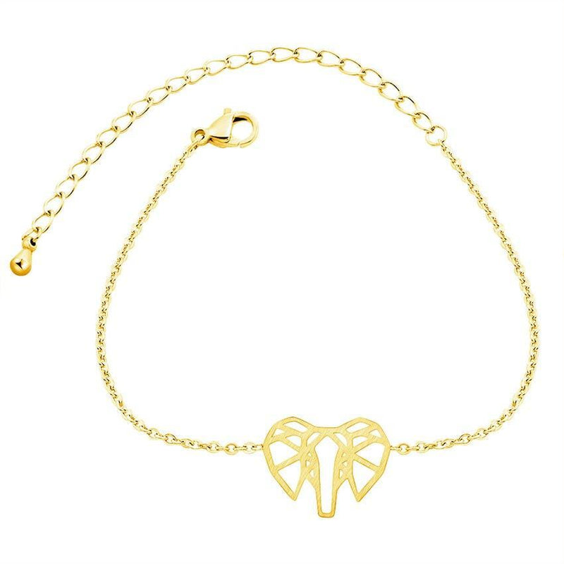 Origami Elephant Gold Plated Bracelet-Women Bracelet-Gold as Ice