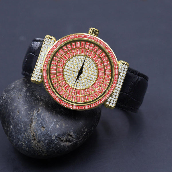 Pink Yellow & White Plaltial Bling Leather Band Watch-Men Watch-Gold as Ice