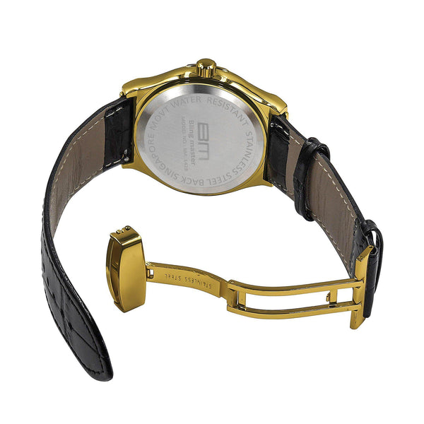 Plaltial Bling Leather Band Watch-Men Watch-Gold as Ice