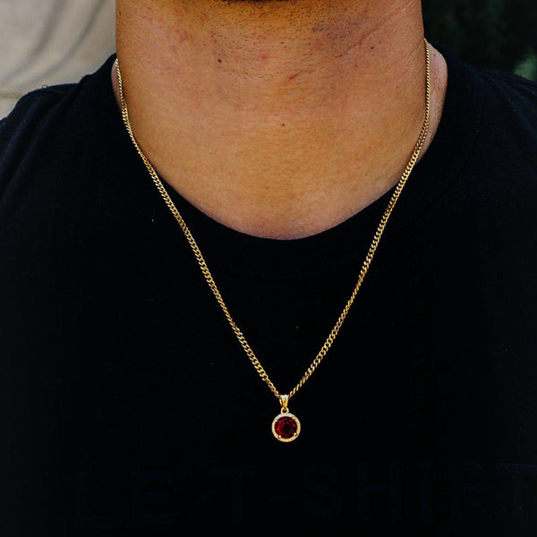 Red Ruby Steel Necklace Chain-Men Necklace-Gold as Ice