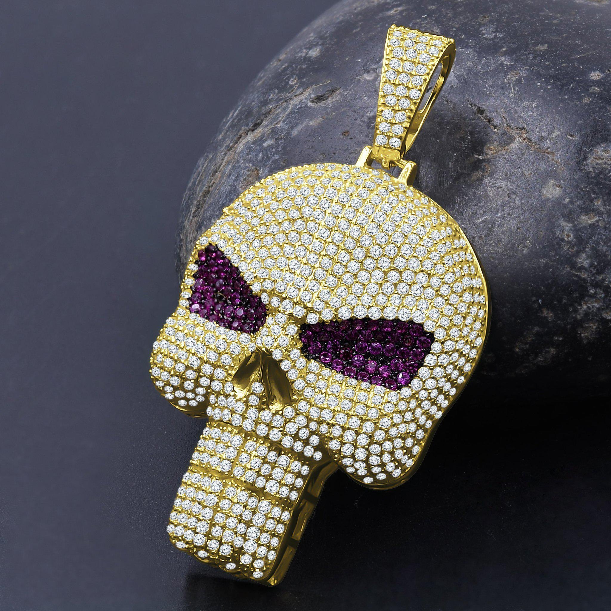 Skull Brainpain Silver Pendant-Men Necklace-Gold as Ice