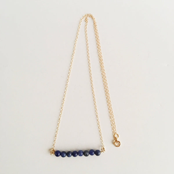 Sodalite Wire Wrapped Necklace-Women Necklace-Gold as Ice