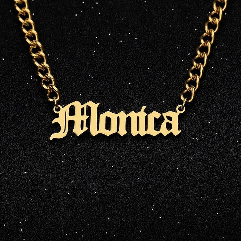 Stainless Steel Personalized Name Cuban Chain Necklace-Unisex Necklace-Gold as Ice