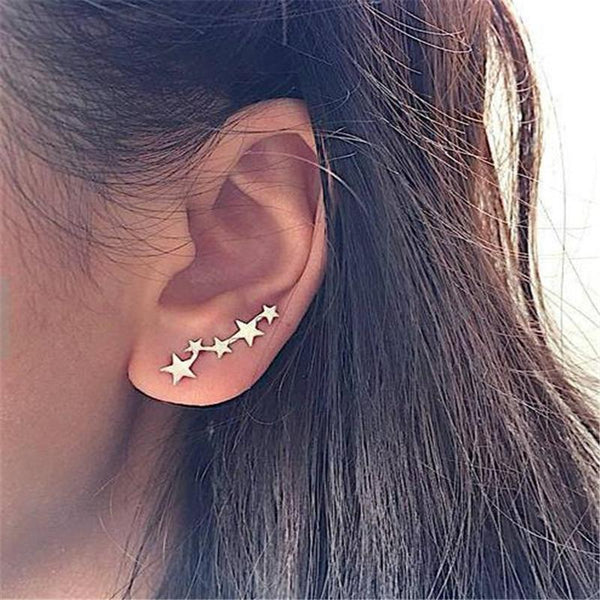 Star Ear Crawlers-Women Earring-Gold as Ice