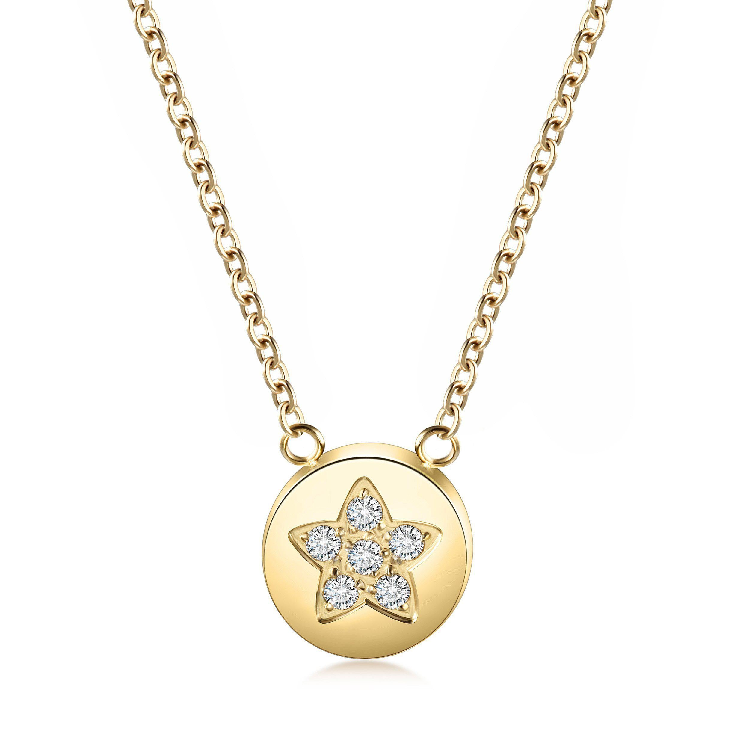 Star Shaped Disc Pendant Necklace-Women Necklace-Gold as Ice