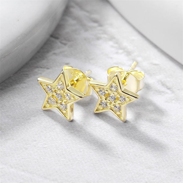 Star Shimmer Stud Earrings-Women Earring-Gold as Ice