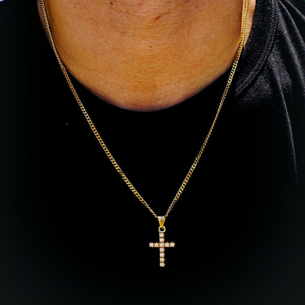 Steel Micro Cross Necklace-Men Necklace-Gold as Ice