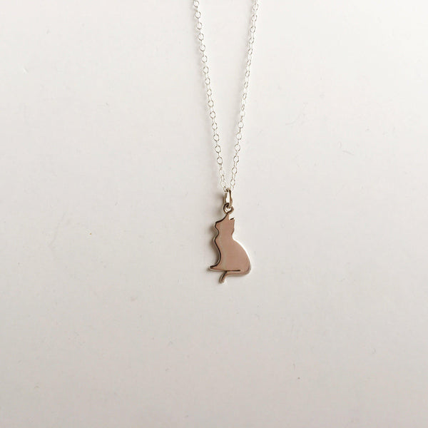 Sterling Silver Kitty Kat Necklace-Women Necklace-Gold as Ice