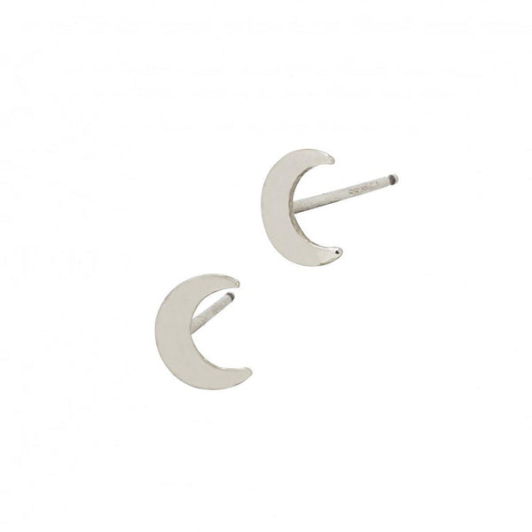Sterling Silver Minimalist Crescent Moon Studs Earrings-Women Earring-Gold as Ice