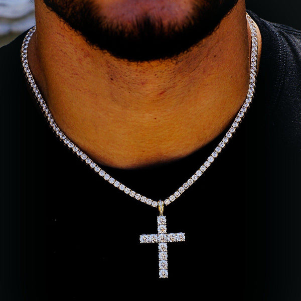 Sublime Tennis Choker Combo Cross Necklace-Men Necklace-Gold as Ice