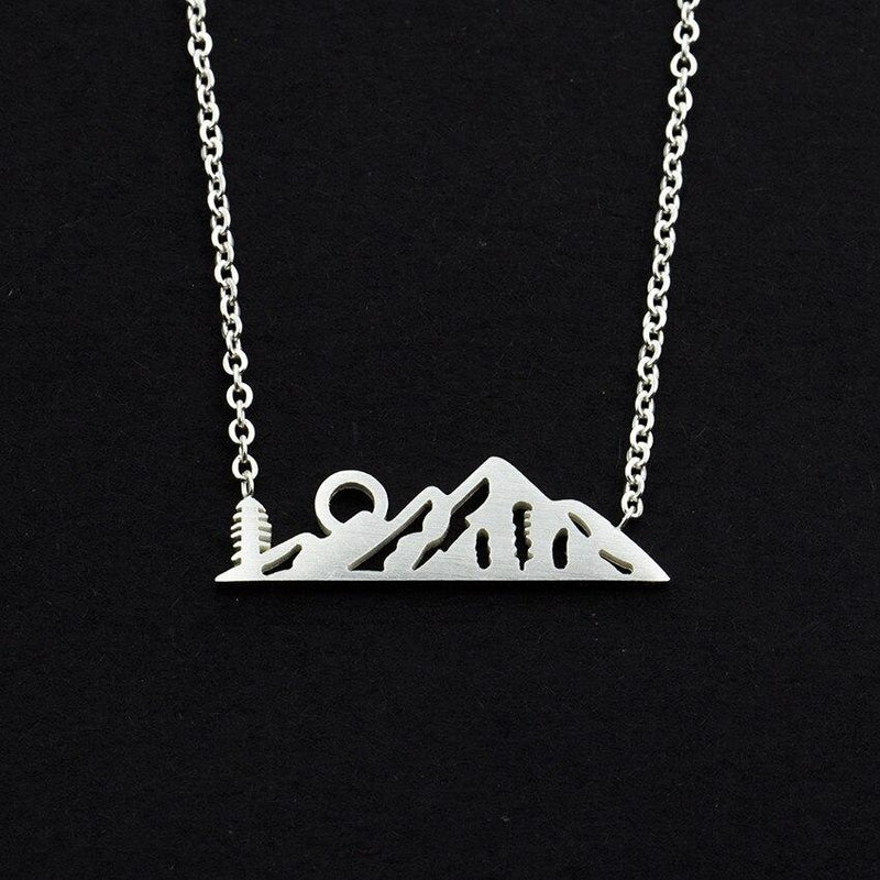 Sun On Mountain Pendant Necklace-Women Necklace-Gold as Ice