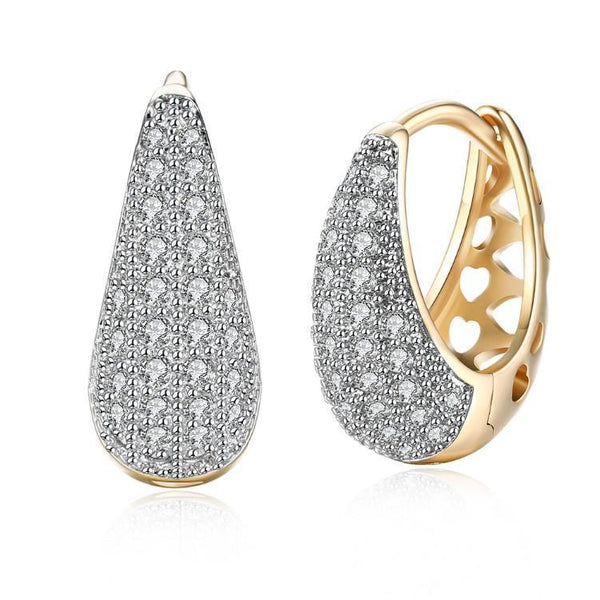 Swarovski Crystal Micro-Pav'e Pear Shaped Teardrop Earrings-Women Earring-Gold as Ice