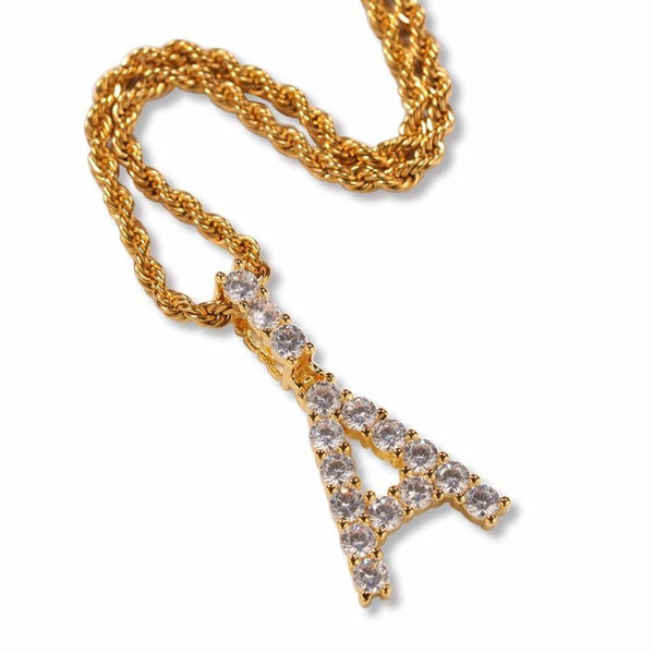Tennis Block Letter Initial CZ Hip Hop Pendant Chain Necklace-Men Necklace-Gold as Ice
