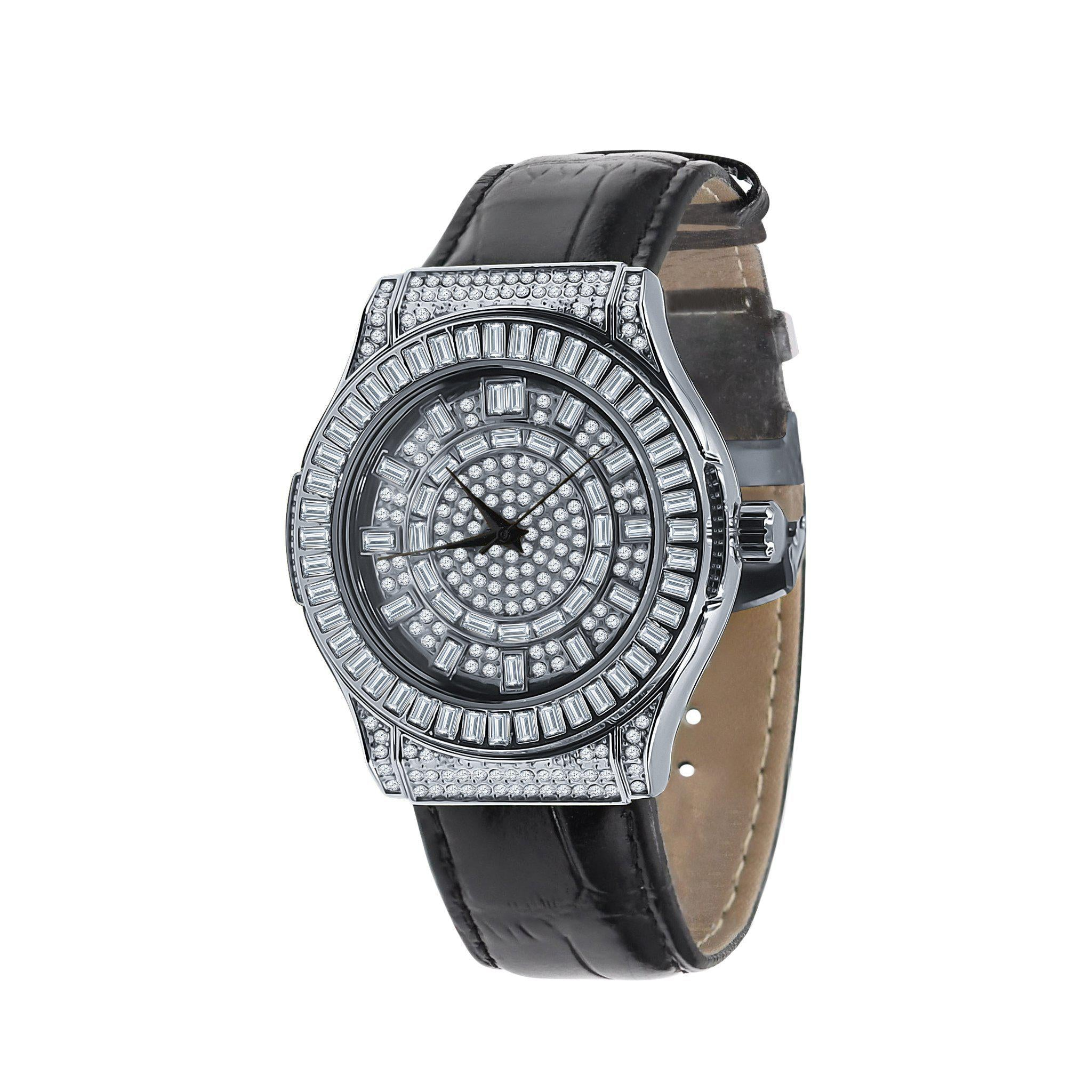 The Conspicuous White Bling Leather Watch-Men Watch-Gold as Ice