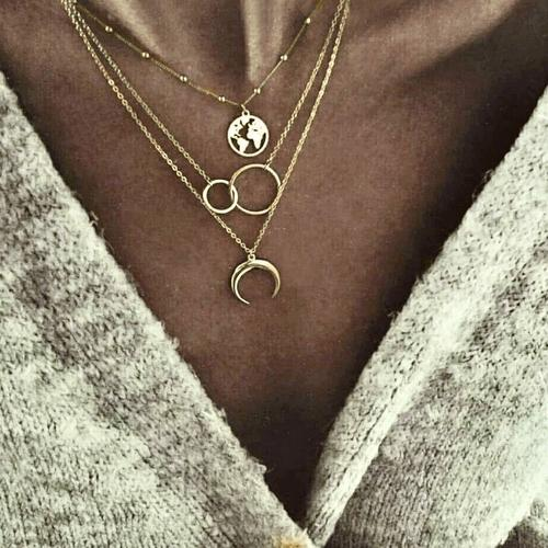 Wanderlust Globe Moon Layered Necklace-Women Necklace-Gold as Ice
