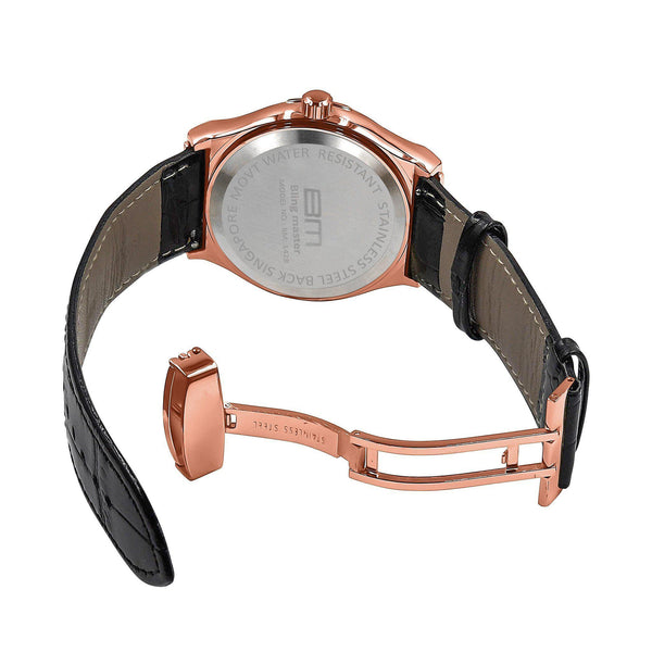White & Pink Plaltial Bling Leather Band Watch-Men Watch-Gold as Ice