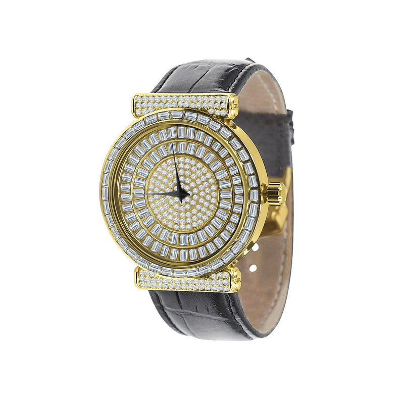 White & Yellow Plaltial Bling Leather Band Watch-Men Watch-Gold as Ice