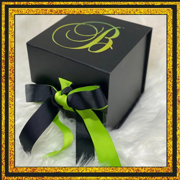 "Black 5"" Cube Gift Box with Ribbon"