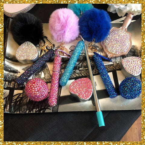 Customised Rhinestone Metal Travel Straw with Pom Pom Key ring