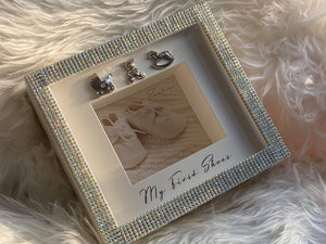 Rhinestone Embellished Baby Keepsake Memory Shadow Box.