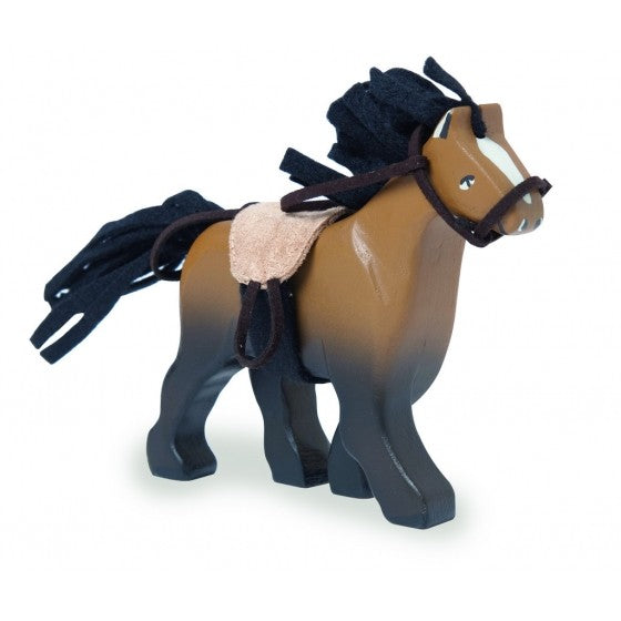 Budkins Wooden Brown Horse with Saddle