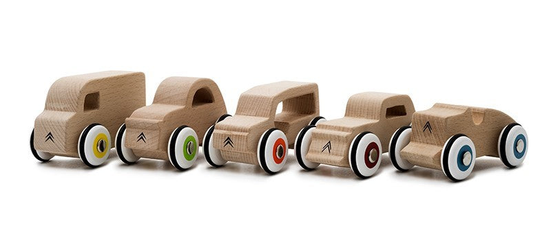 vintage wooden cars set