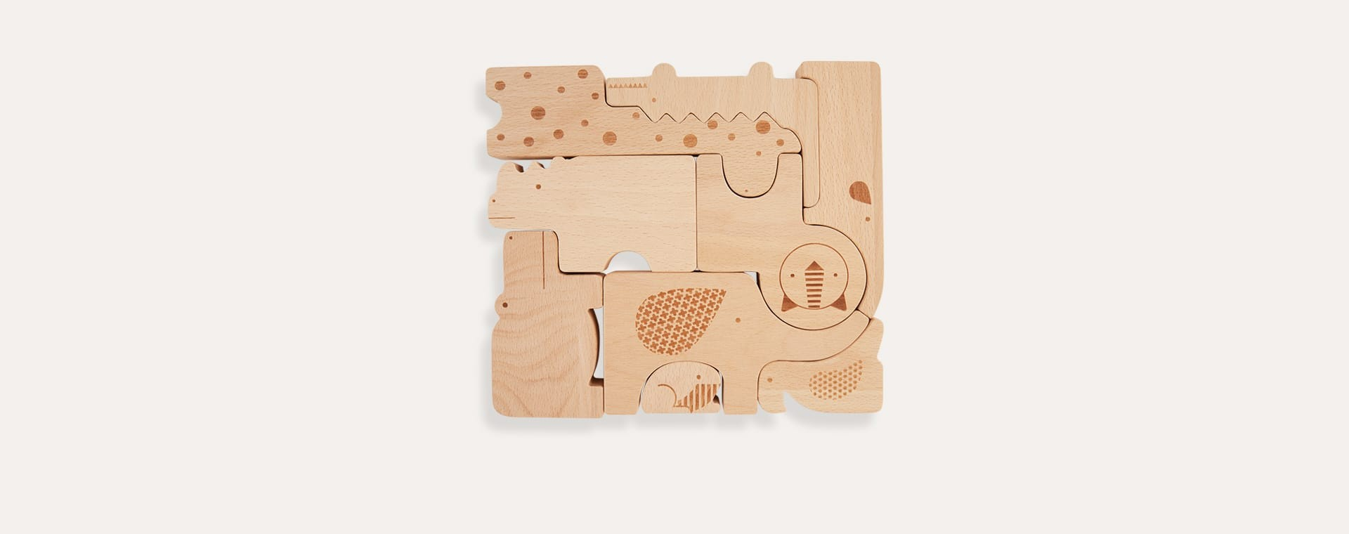 Wooden safari animal puzzle Petit collage