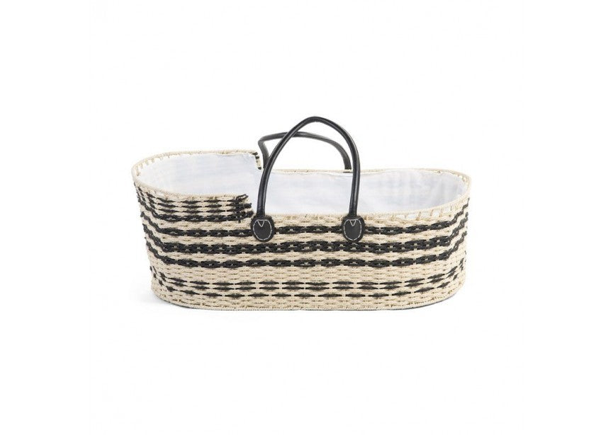 woven wicker moses basket black and natural
