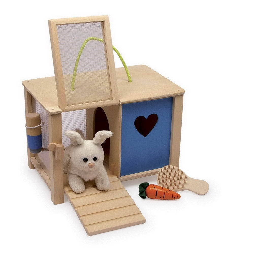 Wooden bunny and hutch play set