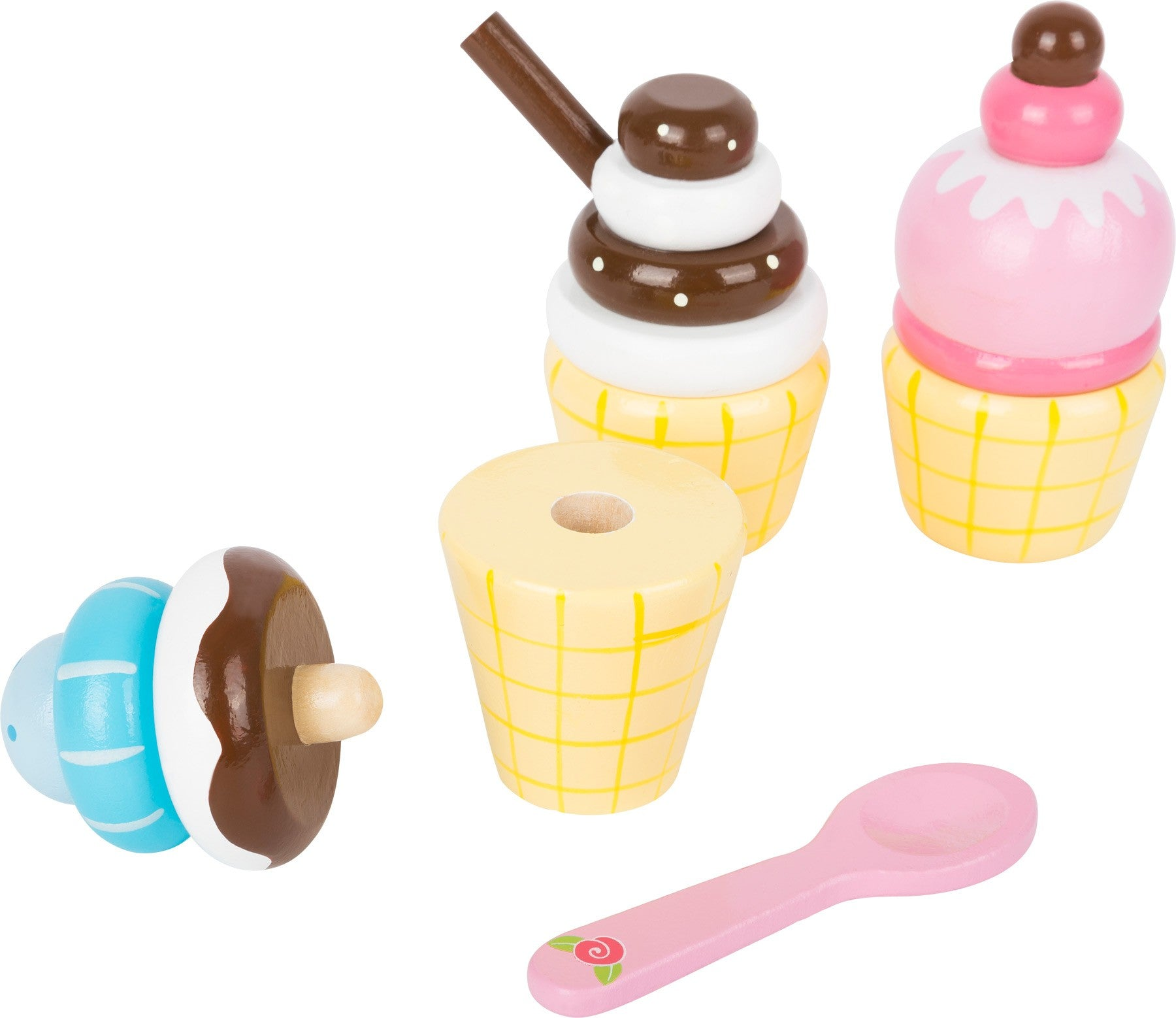 Wooden ice cream cones and holder
