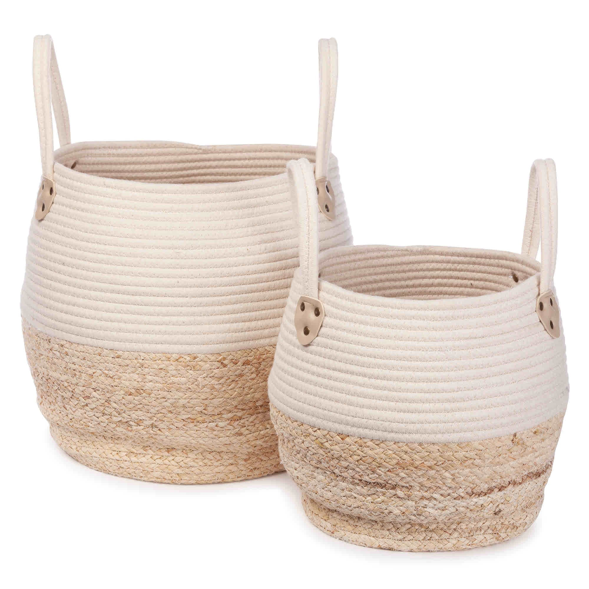 Cord and wicker basket set Cream