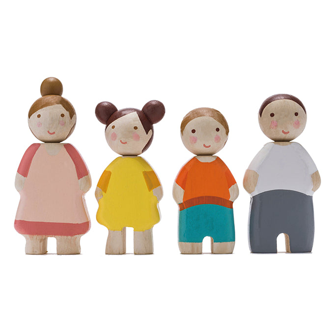 Wooden dolls house family