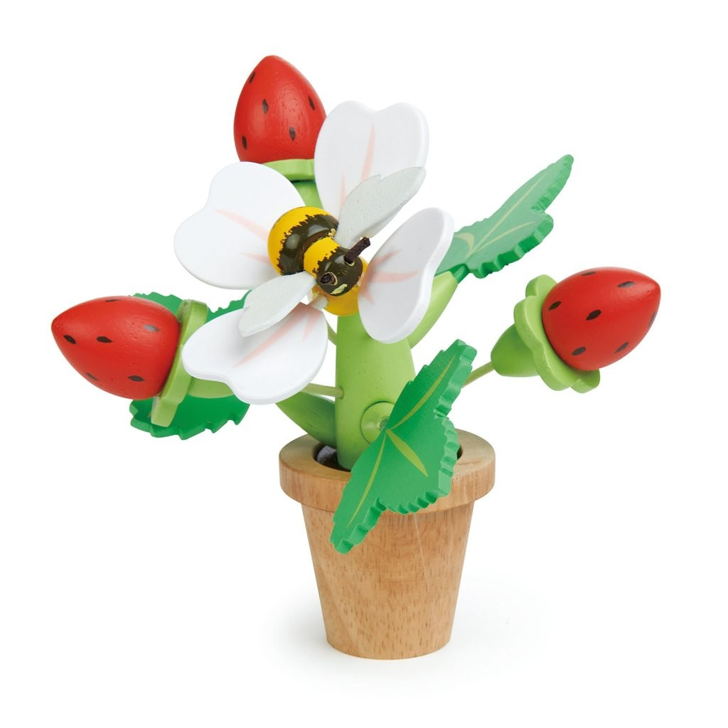 Wooden toy strawberry flower pot