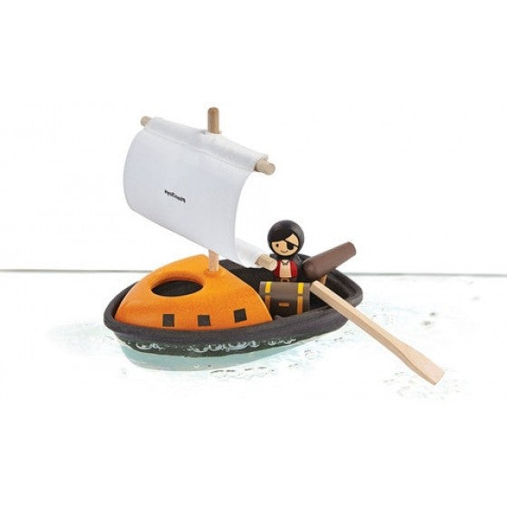 Wooden bath toy pirate boat - Plan Toys
