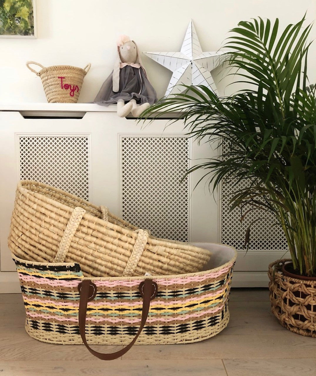 woven wicker moses basket coloured