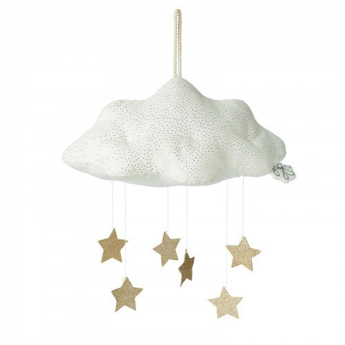 cloud and stars mobile white and gold