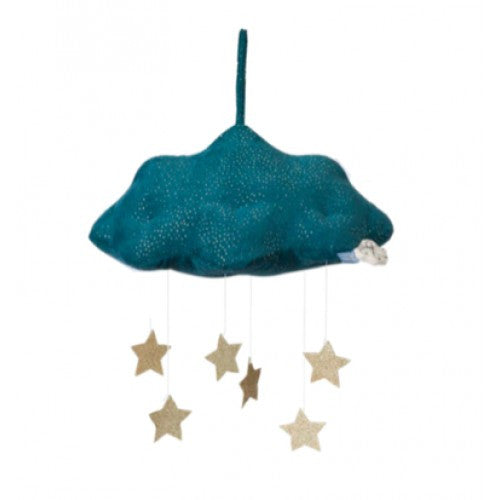 cloud and stars mobile blue
