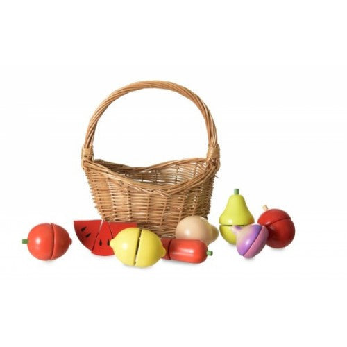 wooden fruit in basket