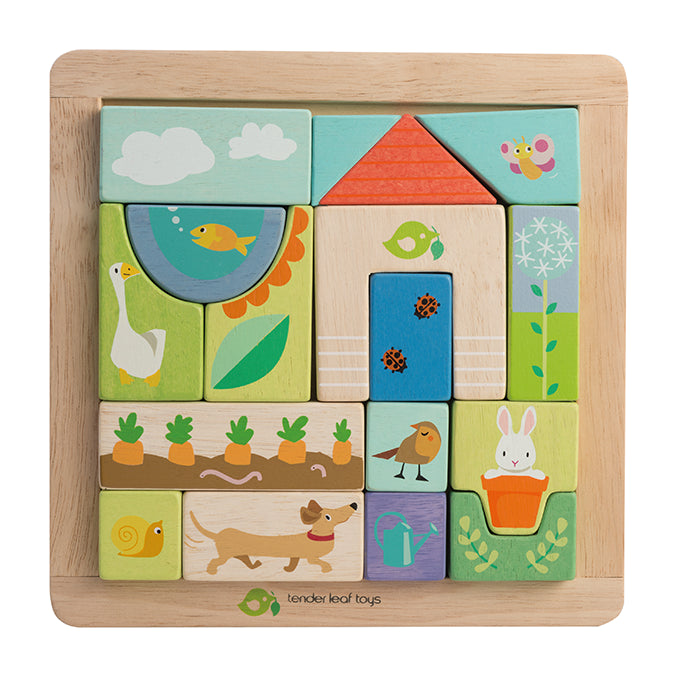 Wooden garden patch puzzle