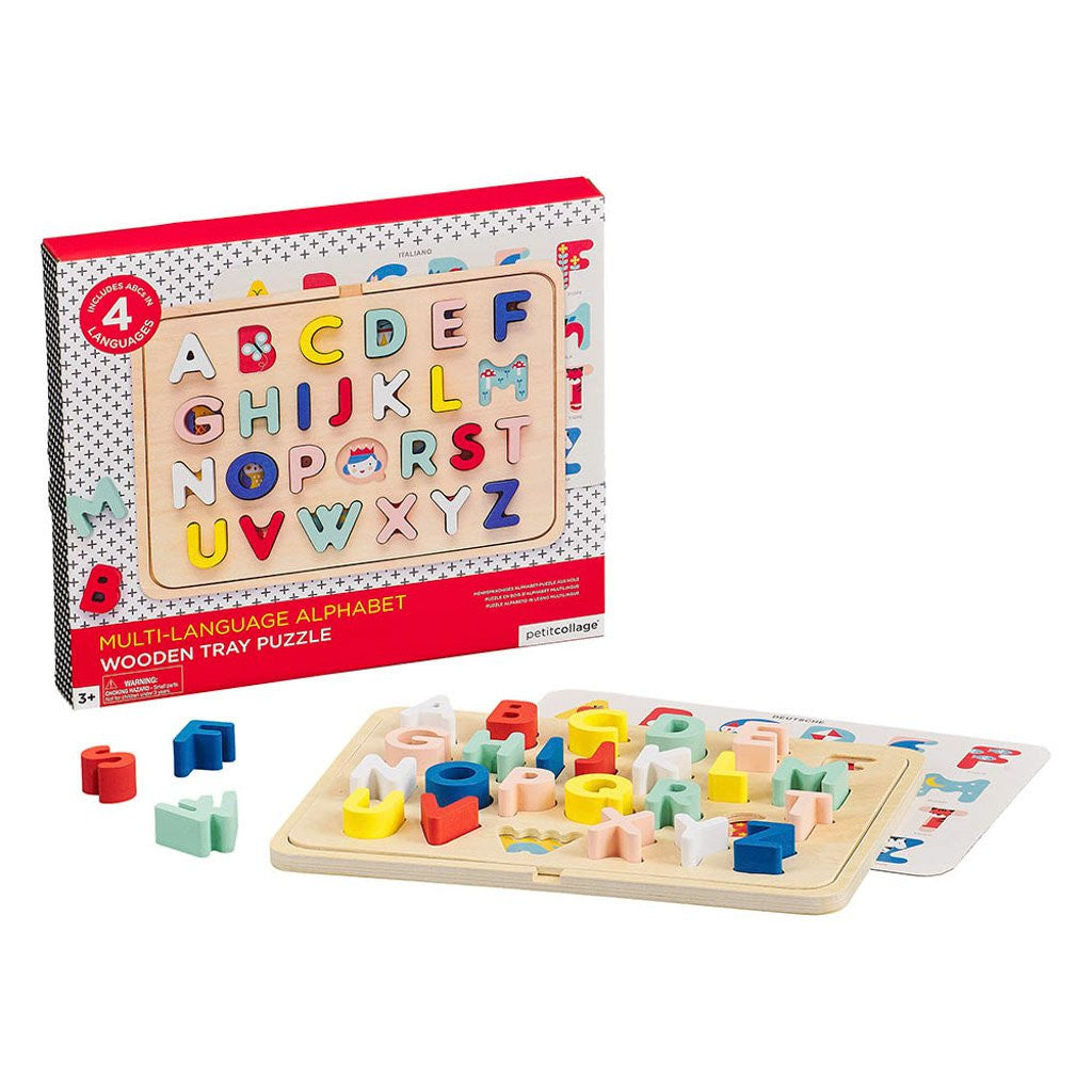 Multi language alphabet wooden tray puzzle