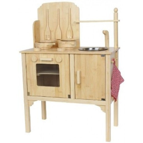 Bamboo wooden play kitchen