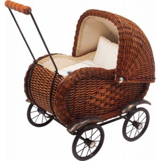 Brown wicker dolls pram
