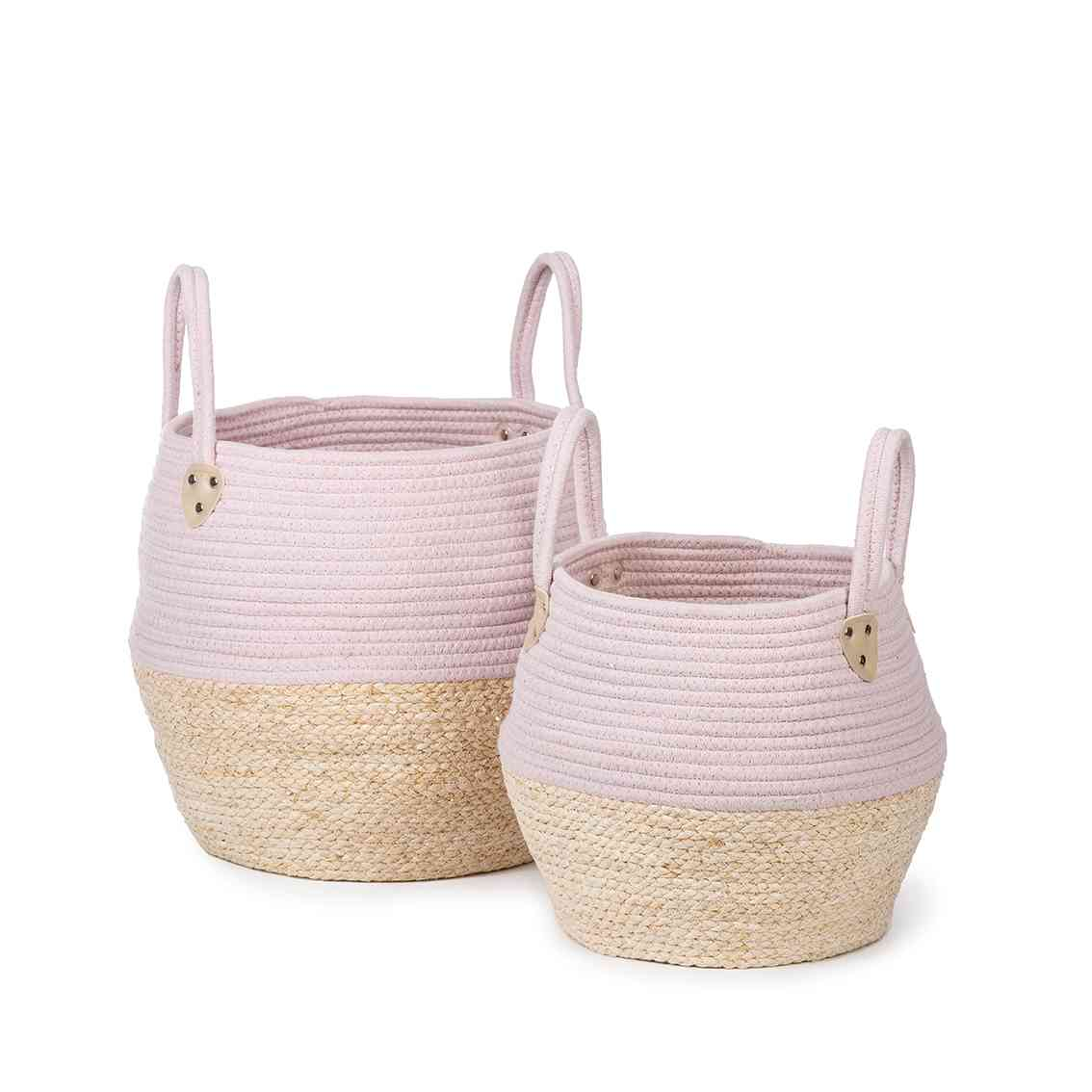 Cord and wicker basket set Pink