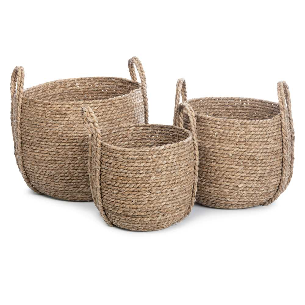 Natural wicker basket set of 3
