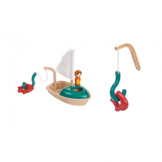 wooden sail boat - bath toy