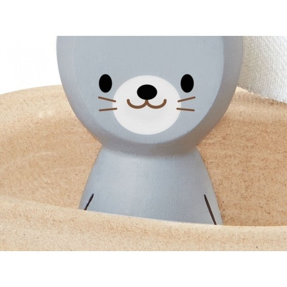Wooden bath toy - seal boat