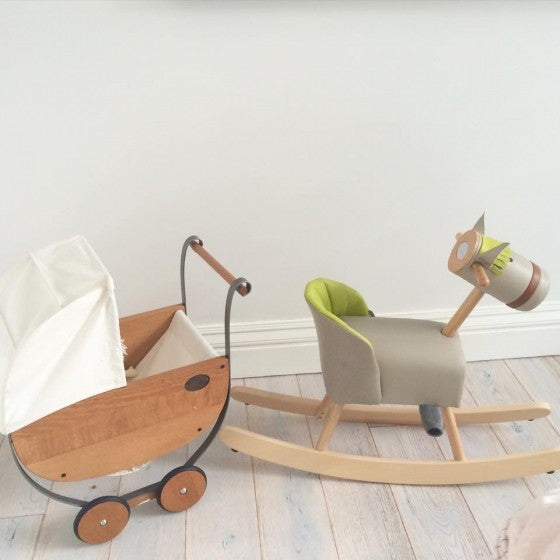 Retro style leather and wood rocking horse - Moulin roty