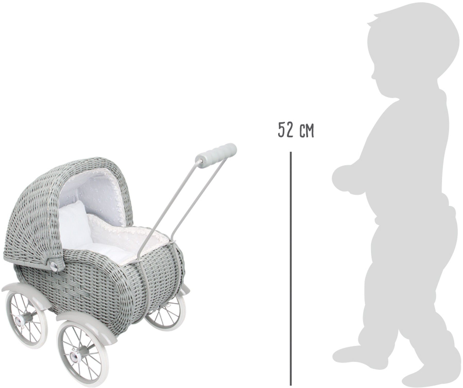 Grey Wicker Dolls Pram