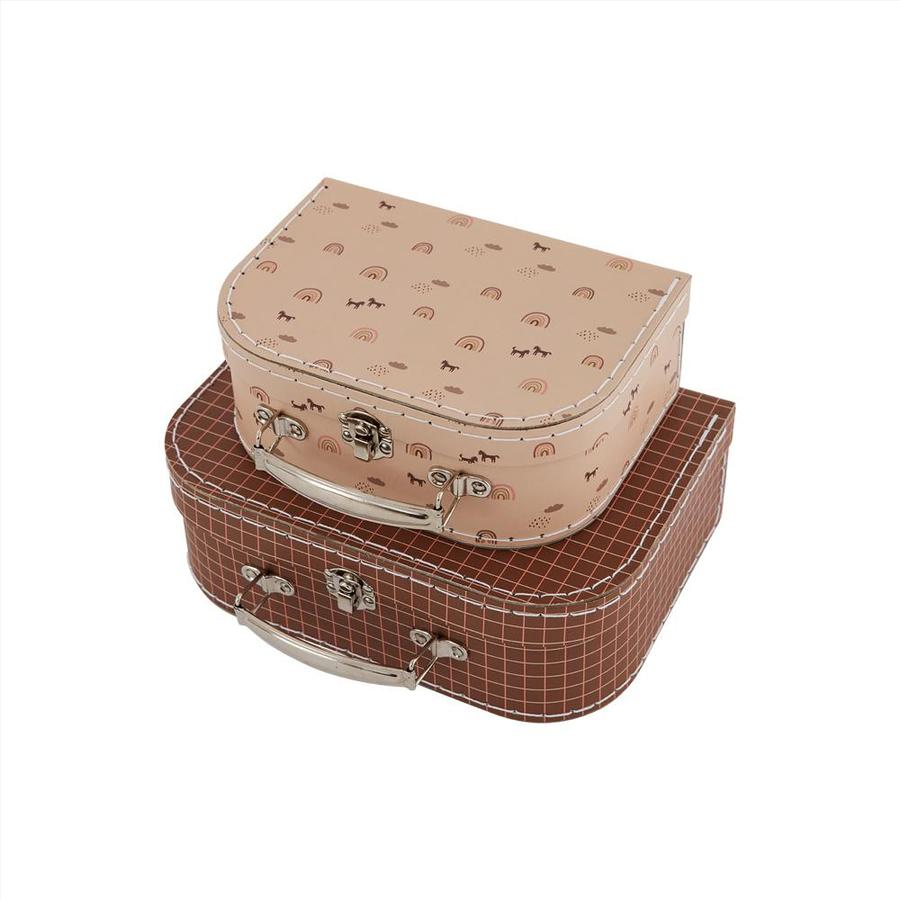 OYOY rainbow and Grid suitcase set Caramel