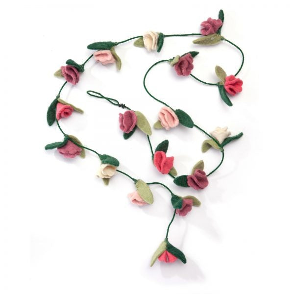 Felt rose flower garland
